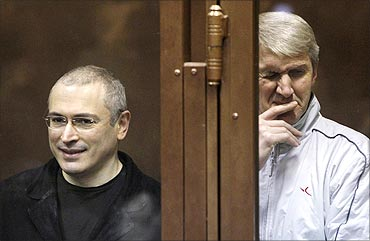 Mikhail Khodorkovsky and his business partner Platon Lebedev in the defendants' cage.