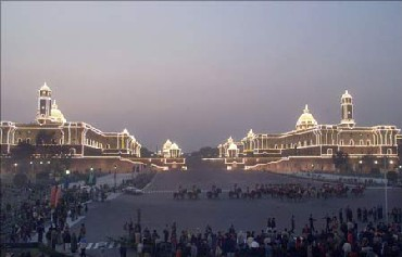 The illuminated South Block and North Block in New Delhi. The North Block houses India's finance ministry