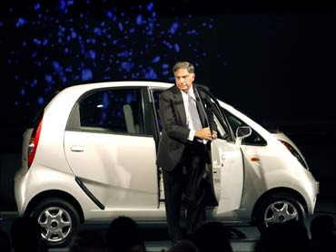 Ratan Tata at the launch of the Nano.