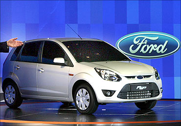 Ford's 'Figo' car stands on display during its launch ceremony in New Delhi.