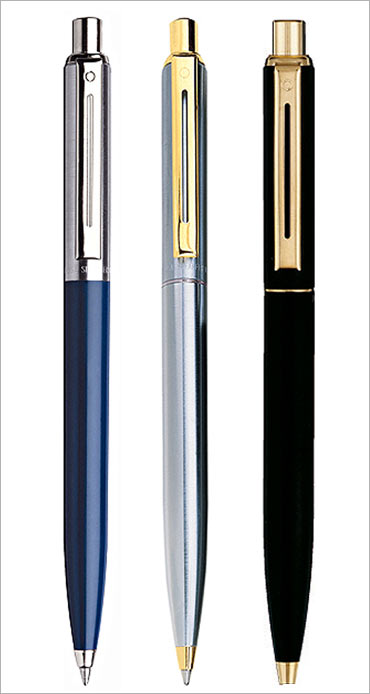 Brushed chrome gold trim 325 ball point pens.
