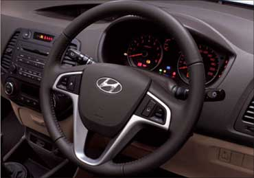 Interior of Hyundai i20.