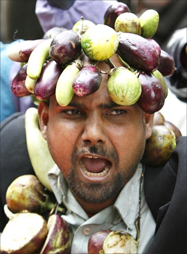 A BJP activist wears a garland made with vegetables at a rally.