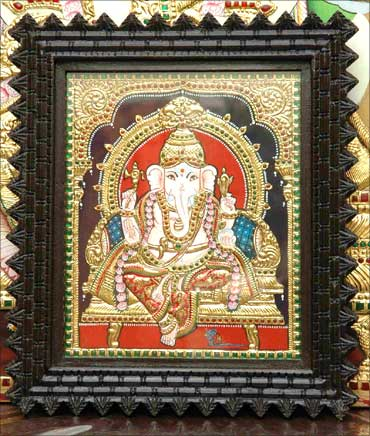 Srividya's Thanjvur painting of Lord Ganesha.