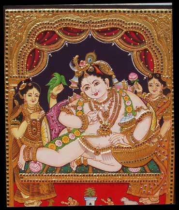A Thanjavur painting of Lord Krishna.
