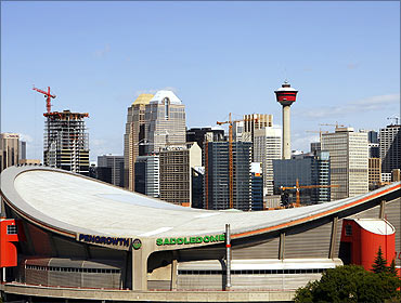 The Pengrowth Saddledome stands as one of the icons of the Calgary, Alberta skyline.