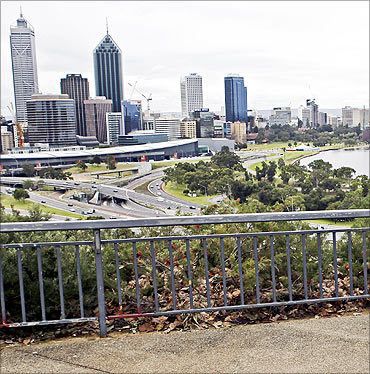 A view of the Perth city skyline from Kings Park.
