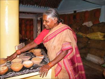 Chandramma showing her seed collection.