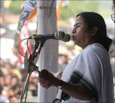 Mamata Banerjee at a rally.