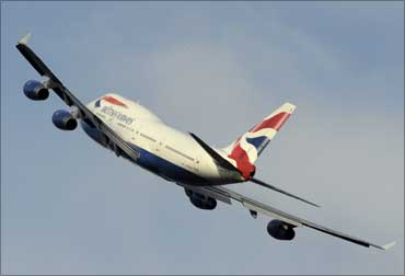 A British Airways Jumbo Jet takes off from the Heathrow Airport.