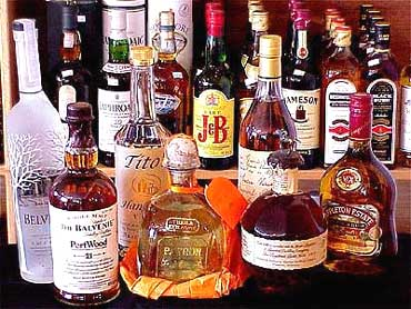Bottles of imported whiskey.