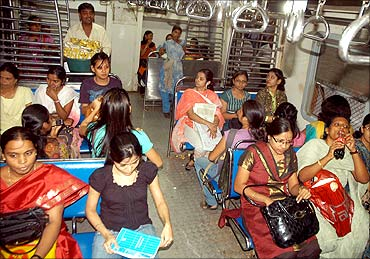 A ladies' compartment in a Mumbai suburban train.