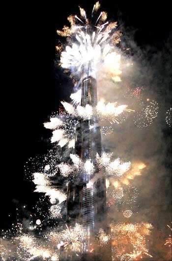Fireworks at Burj Dubai.