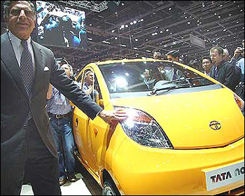 Ratan Tata unveiling the Tata Nano at the Geneva Auto Show in 2009.