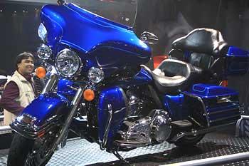 A Harley-Davidson motorcycle on display at the Delhi Auto Expo.