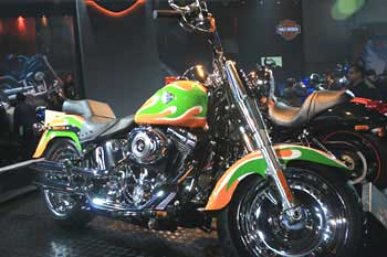 A custom-painted Harley-Davidson Fat Boy in Indian colour.