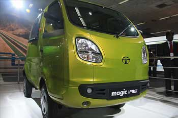 The 611cc five-seater 'Magic Iris' from Tata Motors.