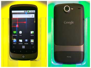 Front and back view of a Nexus One smartphone.