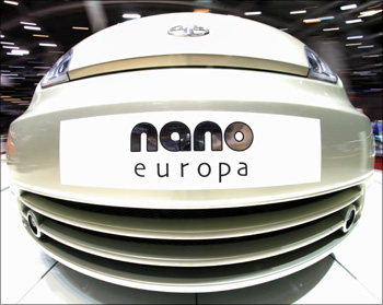 The Tata Nano Europa car at the 79th Geneva Car Show at the Palexpo in Geneva.