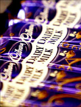 Cadbury's chocolate bars are seen at a store in London.