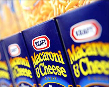 Kraft products displayed at the company's headquarters in Northfield, Illinois.
