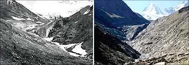 Machoi glacier: Comparative position of the glacier front   (left) 1957 (Raina) and 2007(Raina).