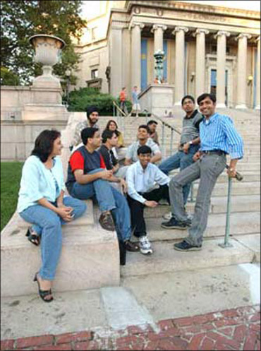 Indian American students at a campus in New York.