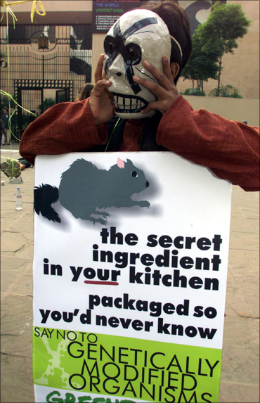 A masked Greenpeace activist shows a sign during a demonstration in New Delhi.