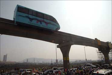 Trial run of Mumbai monorail.