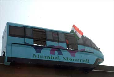 Trial run of the Mumbai Monorail.