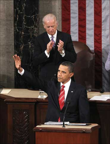 US President Barack Obama speaks during his first State of the Union address on Capitol Hill in Washington.