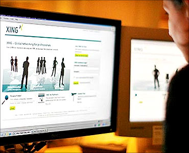 A web-user views the global networking site called Xing in Stockholm.