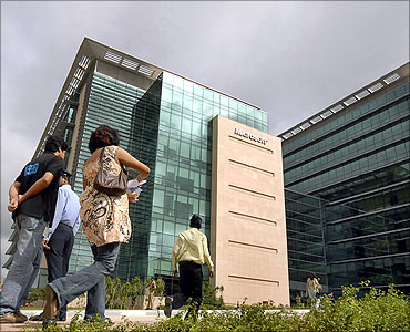 Employees at the Microsoft India Development Centre.