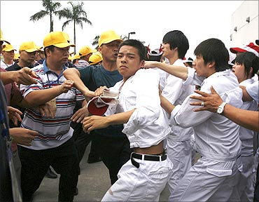 Workers clash at a Honda plant in Foshan.