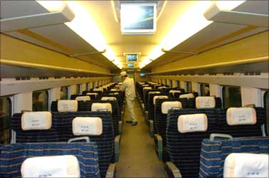 Interior of China's bullet train.