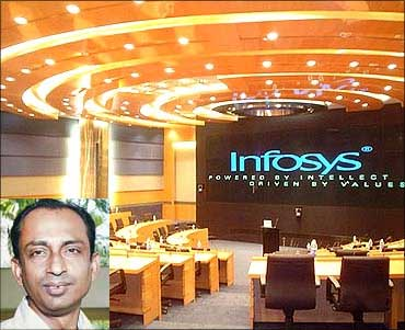 Inset: Infosys Technologies' head of global branding and corporate marketing, Aditya Nath Jha.