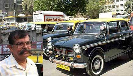 Inset: A L Quadros, secretary, Bombay Taximen Union.
