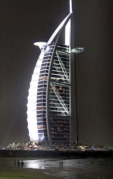 The Burj al Arab hotel of Dubai.