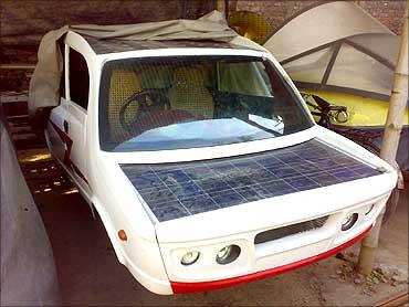 Solar hybrid car.