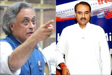 Jairam Ramesh (left) and Praful Patel.