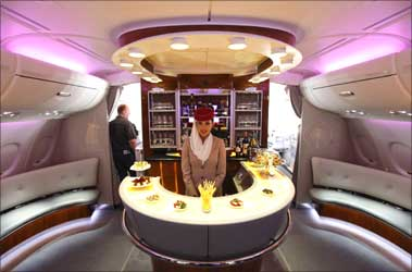 The bar in the first class section of Emirates A380.