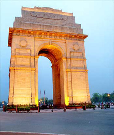 The India Gate in New Delhi.