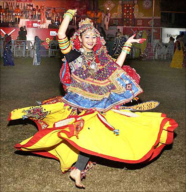 A Gujarati girl does the Raas Garba in Ahmedabad.