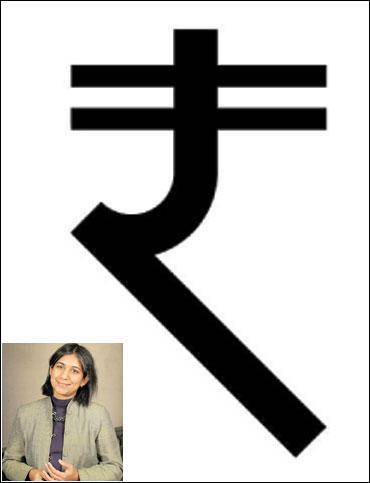 Nondita's rupee design (inset) Nondita Correa-Mehrotra