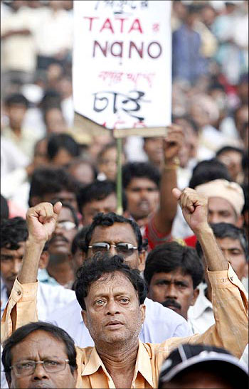 Trinamool Congress workers protesting against the Tata Motors' Nano plant in Singur in January 2009.