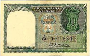 A Rupee 1 currency note that was in circulation in 1950.