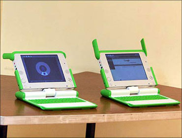 The OLPC's XO Laptop which costs $188. India's $30-laptop will now be the cheapest.