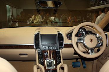 Interior view of Porsche.