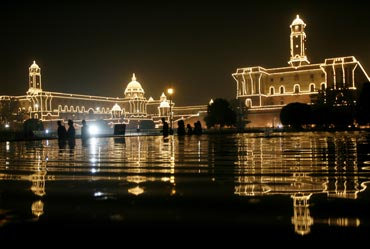 The Indian Defence Ministry and Home Ministry buildings are illuminated during the 'Beating the Retreat' ceremony in New Delhi.