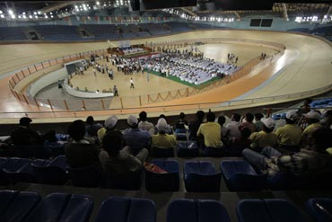 A general view of the indoor cycling velodrome constructed for the 2010 Commonwealth Games.